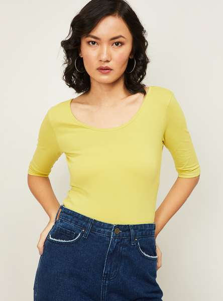 GINGER Women Solid Knitted Top