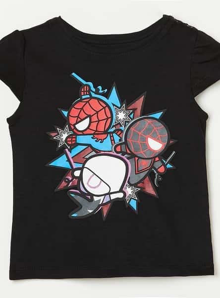 JUNIORS Cutaway Sleeves Spiderman Print T-op