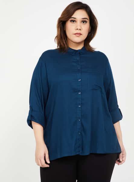 NEXUS Women Plus-Size Women Solid Full Sleeves Shirt