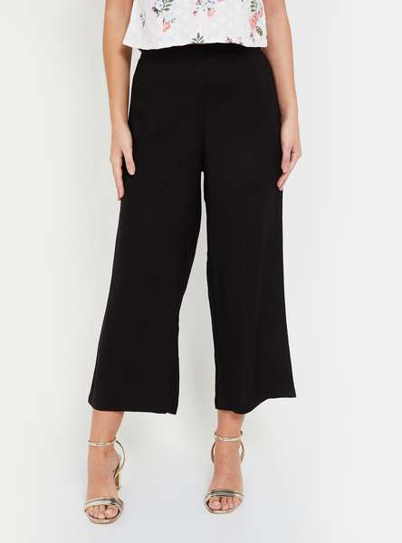 MELANGE Solid Cropped Palazzos