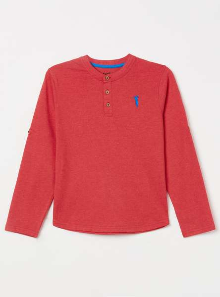 BOSSINI Solid Roll-Up Sleeves Henley T-shirt