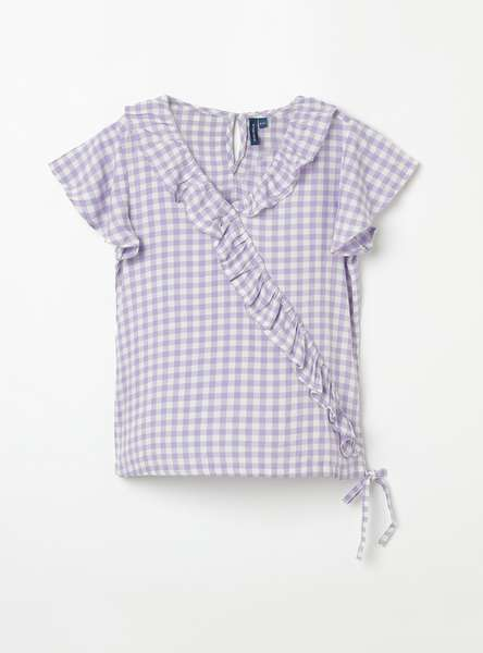 FAME FOREVER YOUNG Checked Ruffled Detail Top