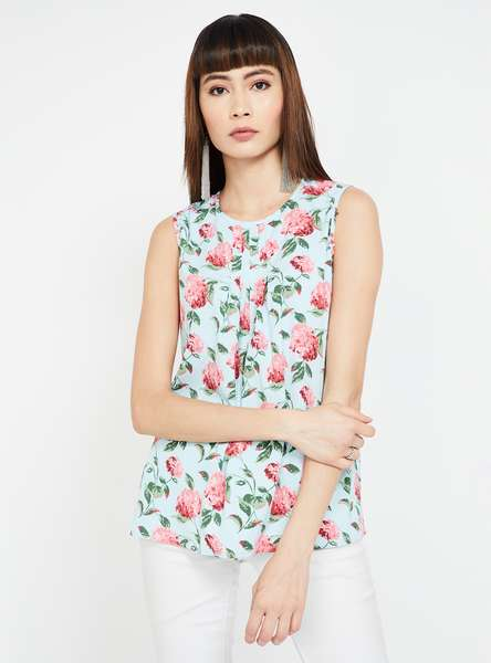 AND Floral Print Pleat Detailed Sleeveless Top