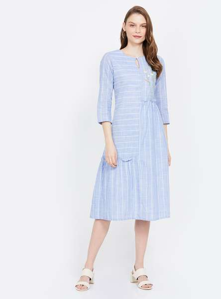 AND Floral Embroidery Striped A-line Midi Dress