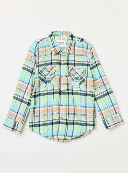 GINI & JONY Boys Checked Regular Fit Casual Shirt with Flap Pockets