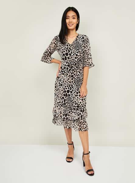GINGER Women Animal Print Midi Dress