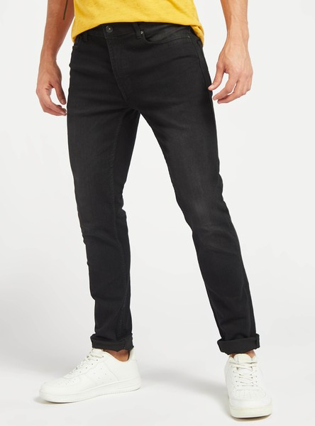 Skinny Fit Solid Jeans with Pockets and Button Closure