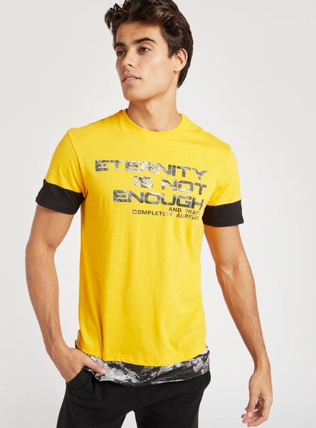 Slim Fit Text Print T-shirt with Round Neck and Short Sleeves