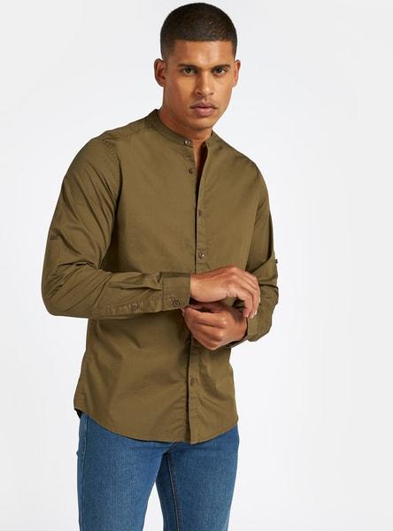 Solid Shirt with Mandarin Collar and Long Sleeves