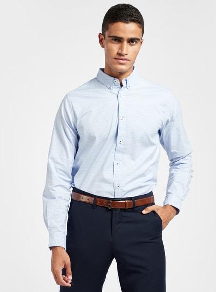 قميص أكسفورد بأكمام طويلة وياقة عادية وطبعات