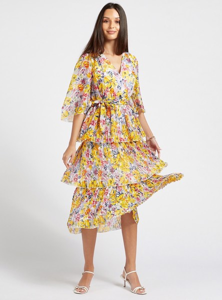 All-Over Floral Print Layered Pleated Dress with Belt Detail
