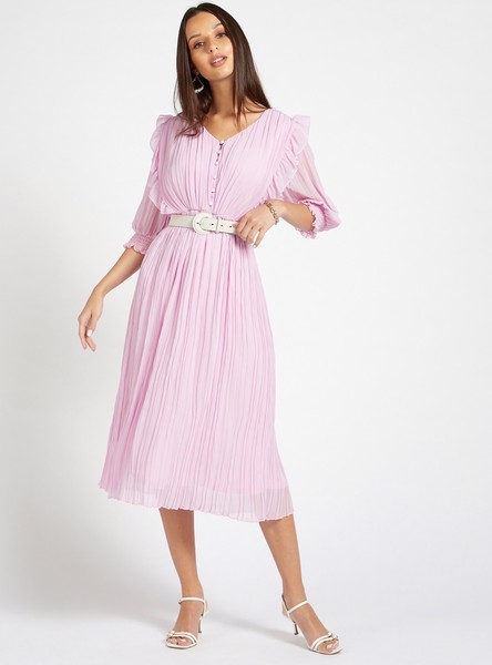 Solid Pleated A-Line Midi Dress with Ruffle Detail