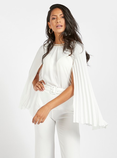 Solid Shell Top with Pleated Cape and Metallic Chain Detail
