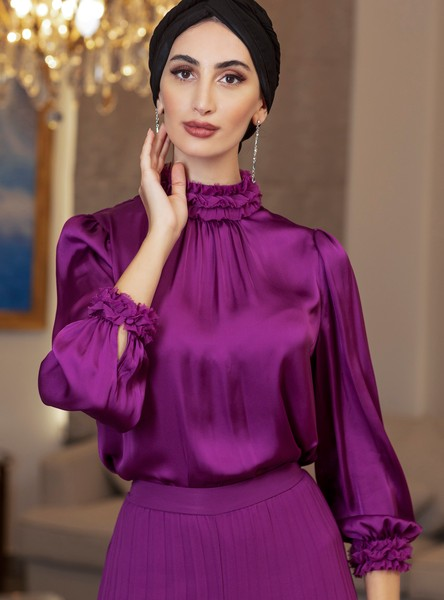 Solid Ruffled Top with High Neck and Long Sleeves