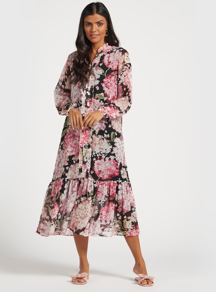 Floral Print Midi Tiered Dress with Ruffle Detail and Long Sleeves