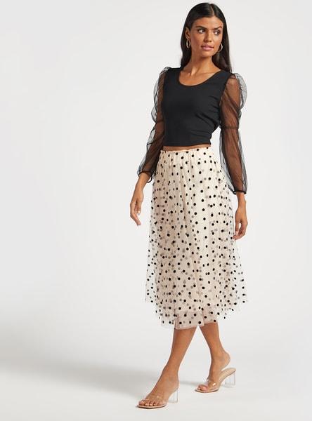 Polka Dots Print A-line Midi Skirt with Elasticised Waistband