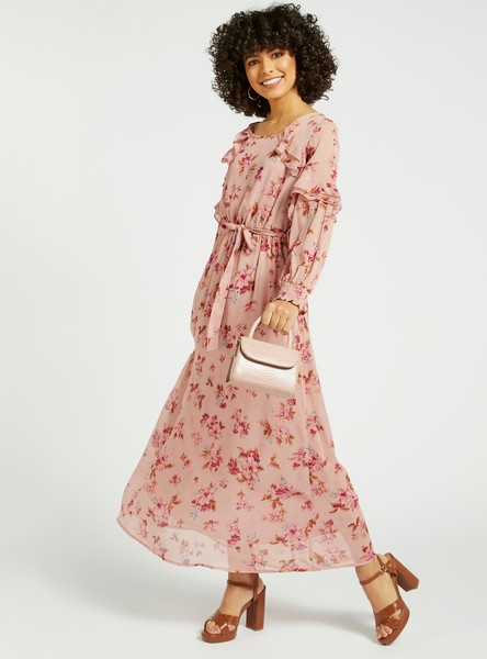 All-Over Floral Print Maxi A-line Dress with Bishop Sleeves