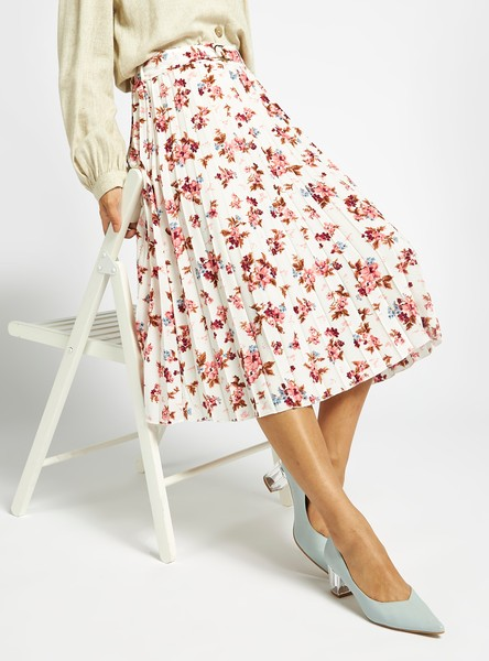 Floral Print Midi Pleated Skirt with Belt and Elasticised Waistband