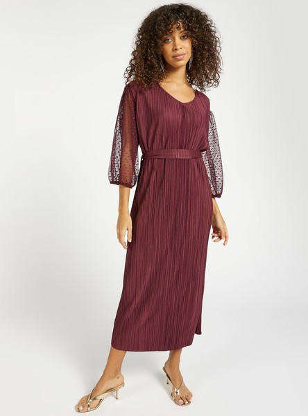 Textured Midi A-line Dress with 3/4 Sleeves and Tie-Ups