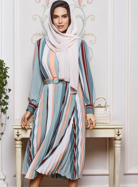 Striped Pleated Midi A-line Dress with Bishop Sleeves and Belt