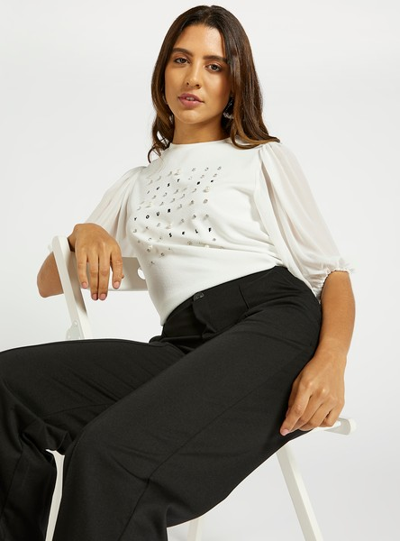 Embellished Detail Top with Crew Neck and Puff Sleeves