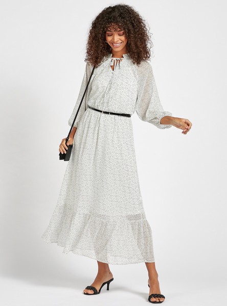 Printed Tiered Maxi Dress with 3/4 Sleeves and Belt