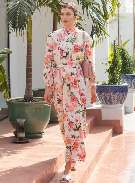 Floral Print A-line Maxi Dress with Long Sleeves and Pleat Detail