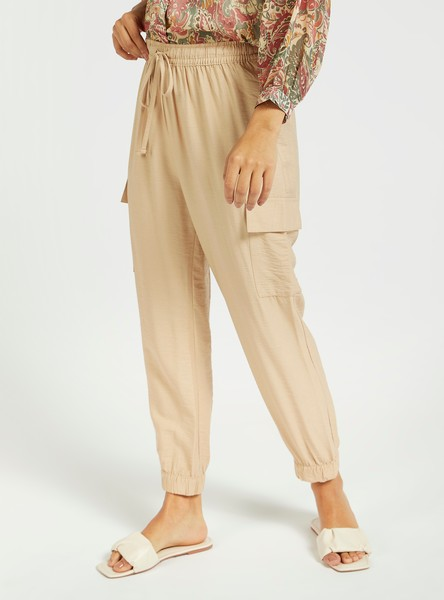 Solid Mid-Rise Cargo Pants with Pockets and Drawstring Closure