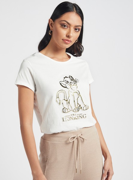 The Lion King Graphic Print T-shirt with Round Neck and Short Sleeves