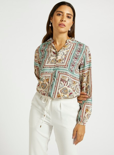 All-Over Print Shirt with V-neck and Long Sleeves