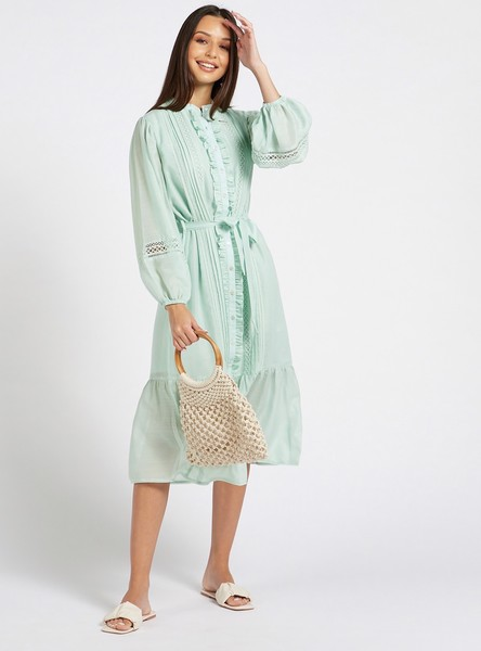 Lace Detail Tiered Midi Dress with Long Volume Sleeves