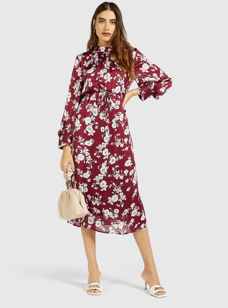 All-Over Floral Print Midi A-Line Dress with Long Sleeves