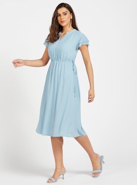 Solid Midi A-line Dress with Cap Sleeves and Pintuck Detail