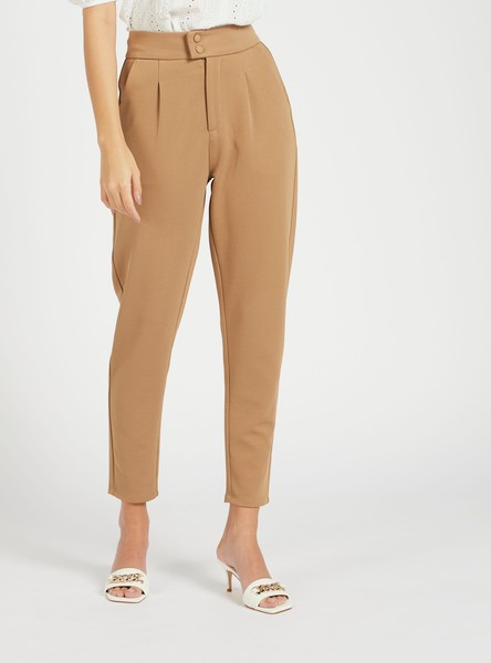 Solid Mid-Rise Full-Length Pants with Pocket Detail and Button Closure