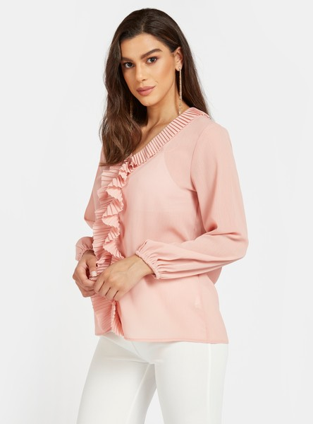 Solid V-neck Top with Ruffle Detail and Bishop Sleeves