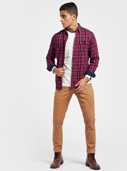 Skinny Fit Solid Chinos with Pocket Detail and Belt Loops