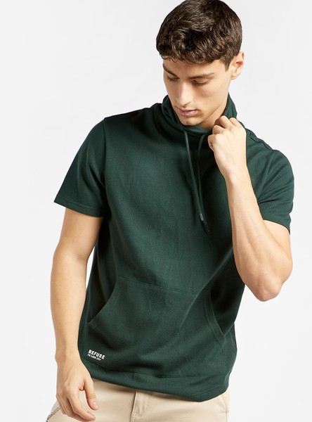 Solid T-shirt with Cowl Neck and Pocket Detail