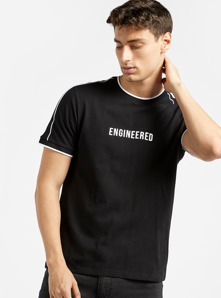 Typographic Print T-shirt with Short Sleeves and Stripe Detail