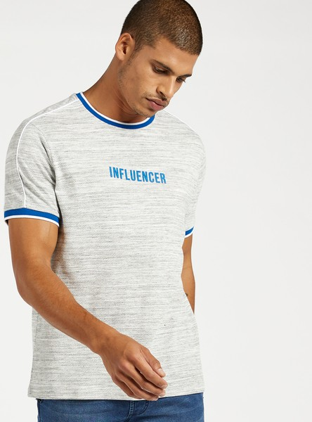 Embossed Text Print T-shirt with Piping Detail and Short Sleeves