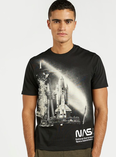 Slim Fit NASA Graphic Print T-shirt with Crew Neck and Short Sleeves