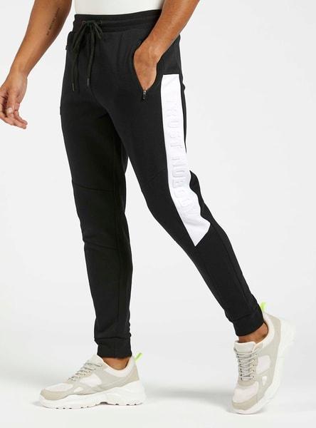 Slim Fit Embossed Print Side Panel Jog Pants with Drawstring