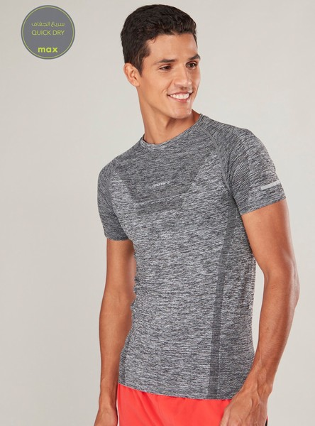 Solid Quick Dry T-shirt with Crew Neck and Raglan Sleeves