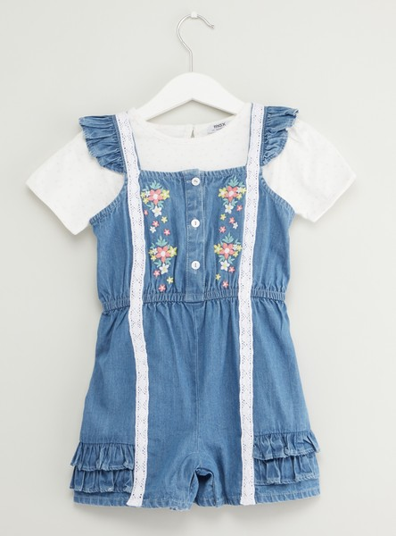 Solid Round Neck T-shirt with Denim Embroidered Romper