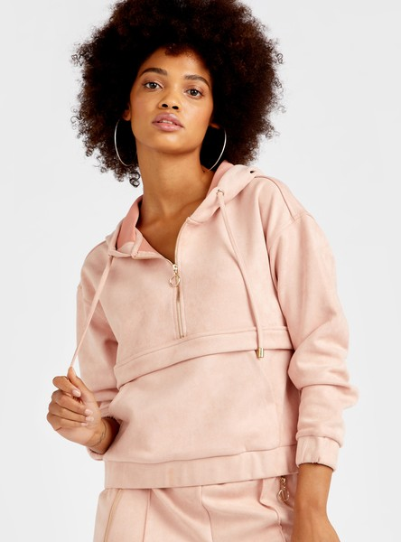 Solid Regular Fit Half-Zipped Hooded Sweat Top