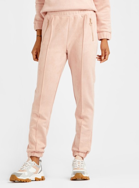 Solid High-Rise Joggers with Piping and Zippered Pockets