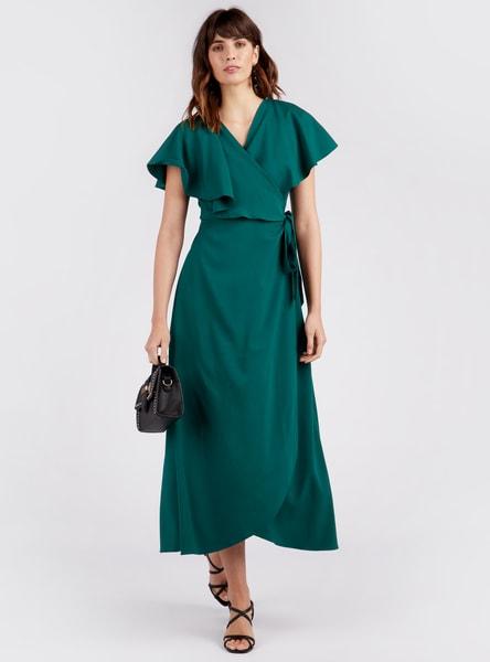 فستان سادة ملفوف طويل بياقة v وألواح
