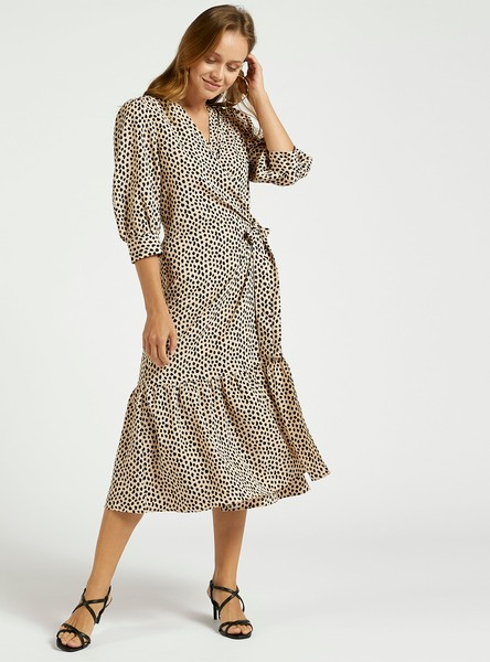 All-Over Print Midi A-line Wrap Dress with Bishop Sleeves and Tie-Ups