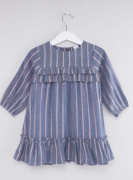 فستان مخطّط بأكمام طويلة و تفاصيل كشكش