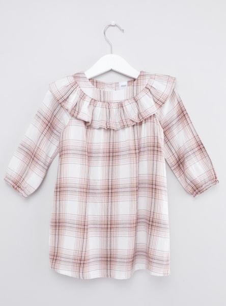 قميص كاروهات بزر سفلي مع ياقة عادية منفوشة و أكمام طويلة