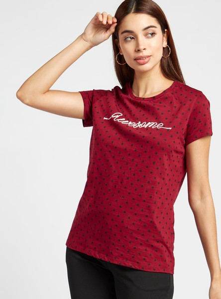 All-Over Print T-shirt with Cap Sleeves and Embroidered Detail